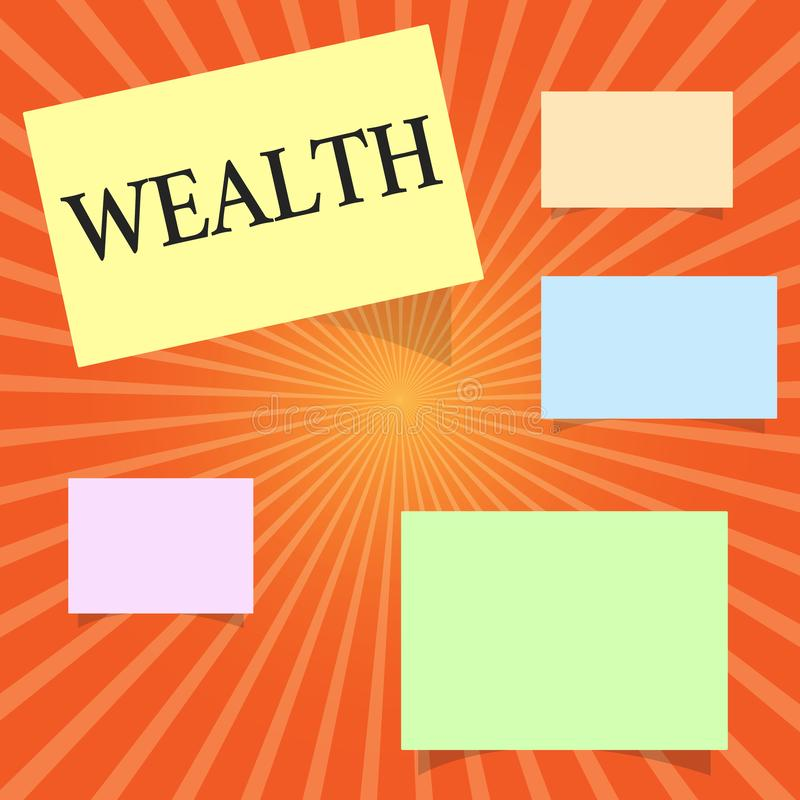 Text sign showing Wealth. Conceptual photo Abundance of valuable possessions or money To be very rich Luxury.  vector illustration