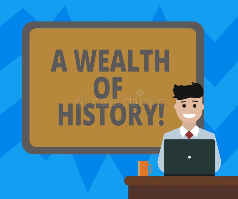 Text sign showing A Wealth Of History. Conceptual photo Valuable ancient stories ancient cultures traditions Blank. Bordered Board behind Man Sitting Smiling vector illustration