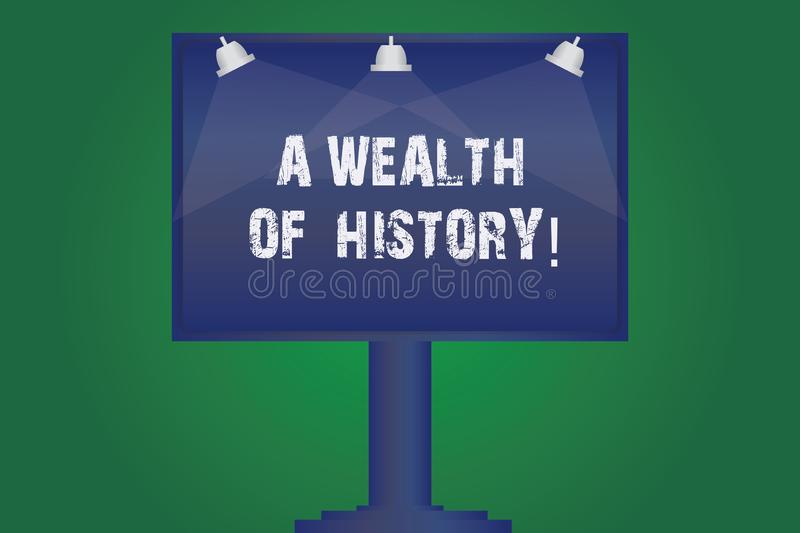 Text sign showing A Wealth Of History. Conceptual photo Valuable ancient stories ancient cultures traditions Blank Lamp. Lighted Color Signage Outdoor Ads photo royalty free illustration