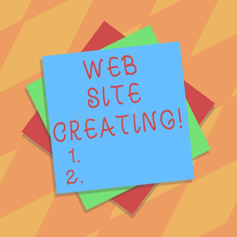 Text sign showing Web Site Creating. Conceptual photo create site layout content production and graphic design Multiple. Layer of Blank Sheets Color Paper royalty free illustration