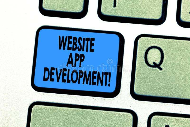 Text sign showing Website App Development. Conceptual photo Creation of application programs save on servers Keyboard stock images