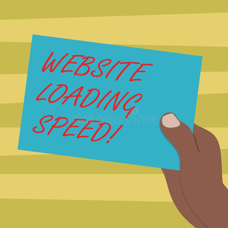 Text sign showing Website Loading Speed. Conceptual photo time takes to display the entire content of a webpage Drawn Hu. Analysis Hand Holding Presenting Blank stock illustration