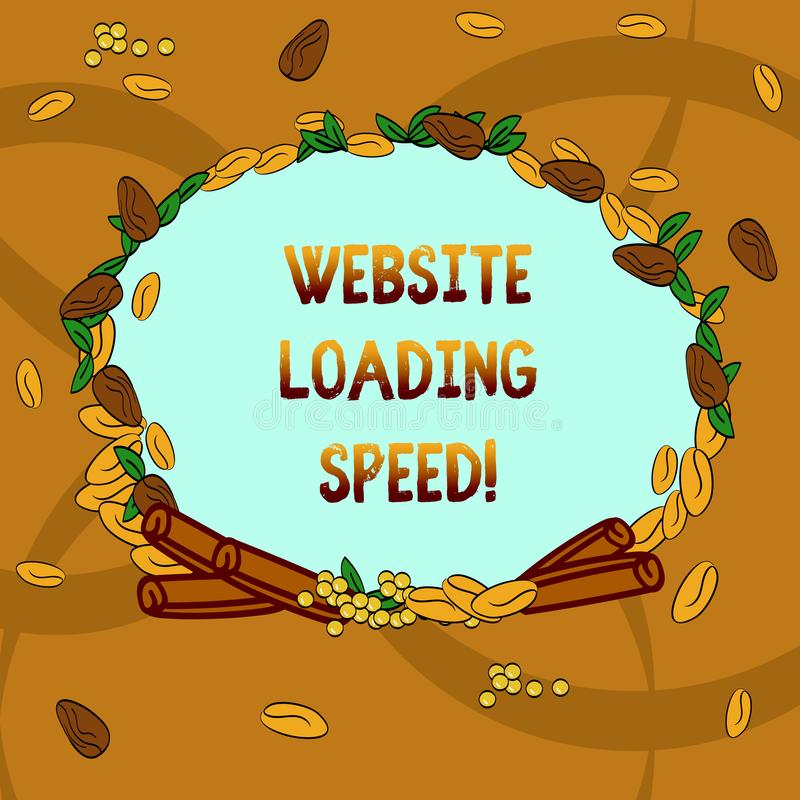 Text sign showing Website Loading Speed. Conceptual photo time takes to display the entire content of a webpage Wreath Made of. Different Color Seeds Leaves and stock illustration