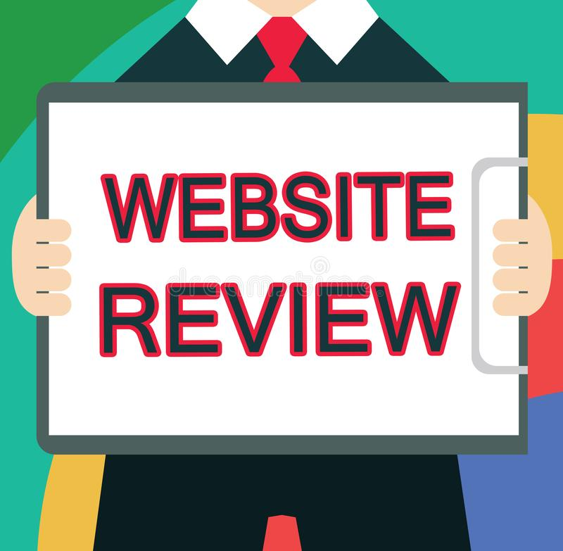 Text sign showing Website Review. Conceptual photo Reviews that can be posted about businesses and services.  royalty free illustration