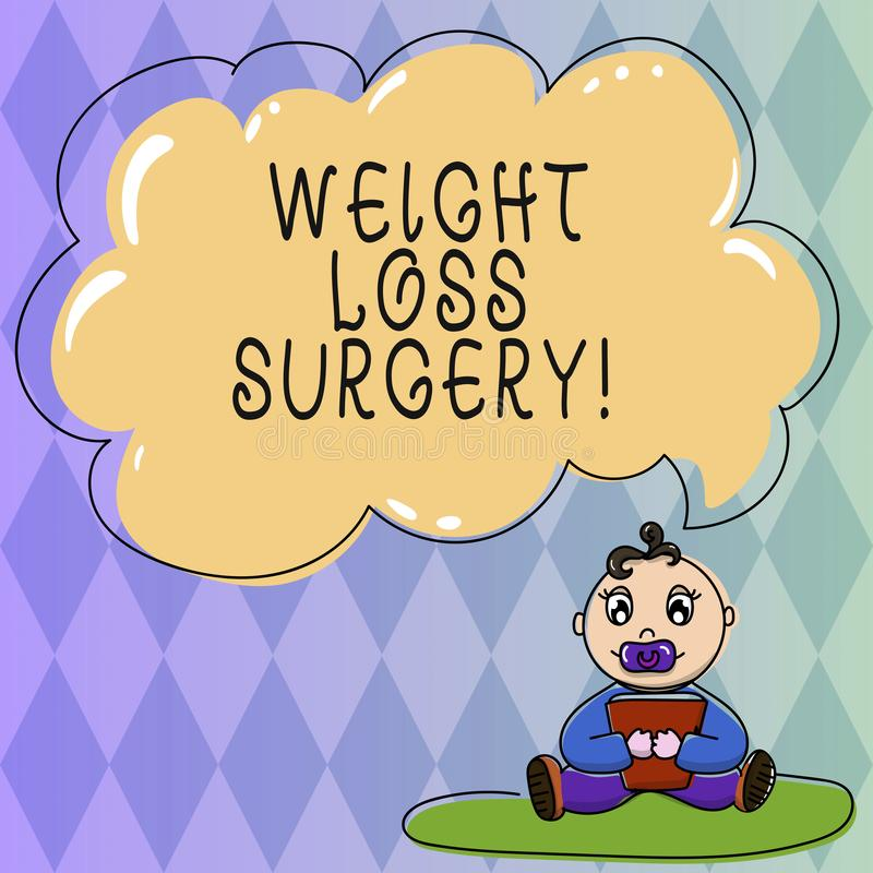 Text sign showing Weight Loss Surgery. Conceptual photo do on stomach intestines to help demonstrating extreme obesity. Baby Sitting on Rug with Pacifier Book vector illustration