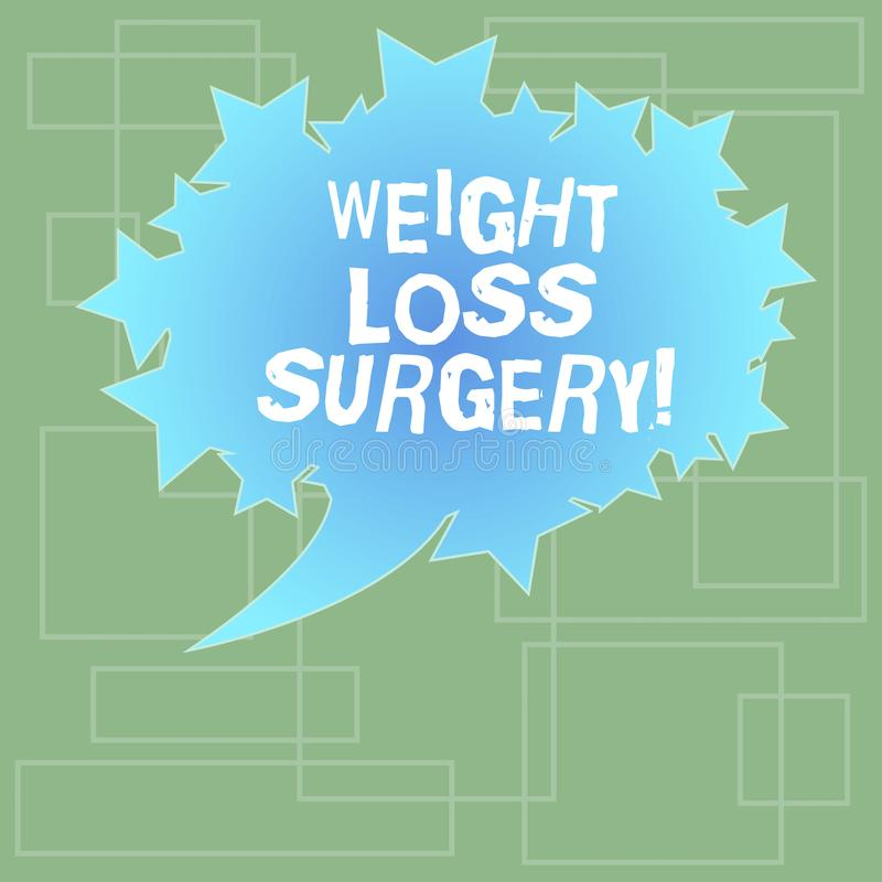 Text sign showing Weight Loss Surgery. Conceptual photo do on stomach intestines to help demonstrating extreme obesity. Blank Oval Color Speech Bubble with royalty free illustration