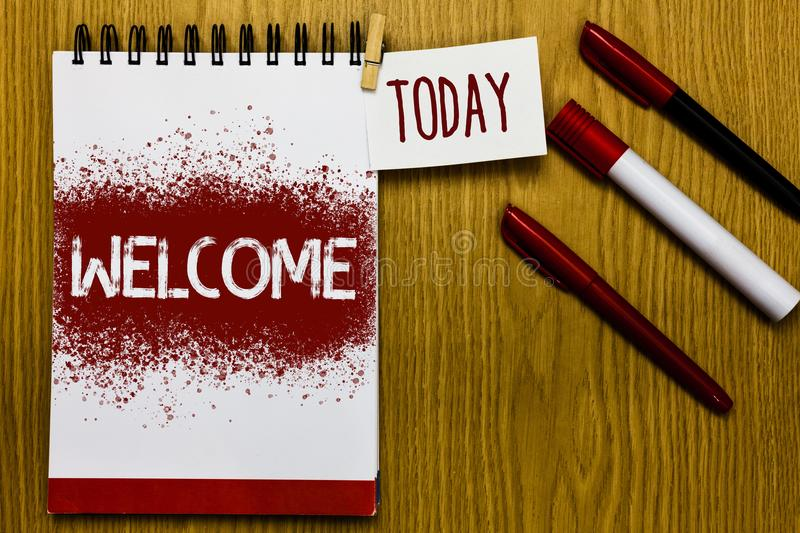 Text sign showing Welcome. Conceptual photo Warm salutation acknowledgement for someone amiable loved thanked Reminder appointment. Daily note paper work book royalty free stock images