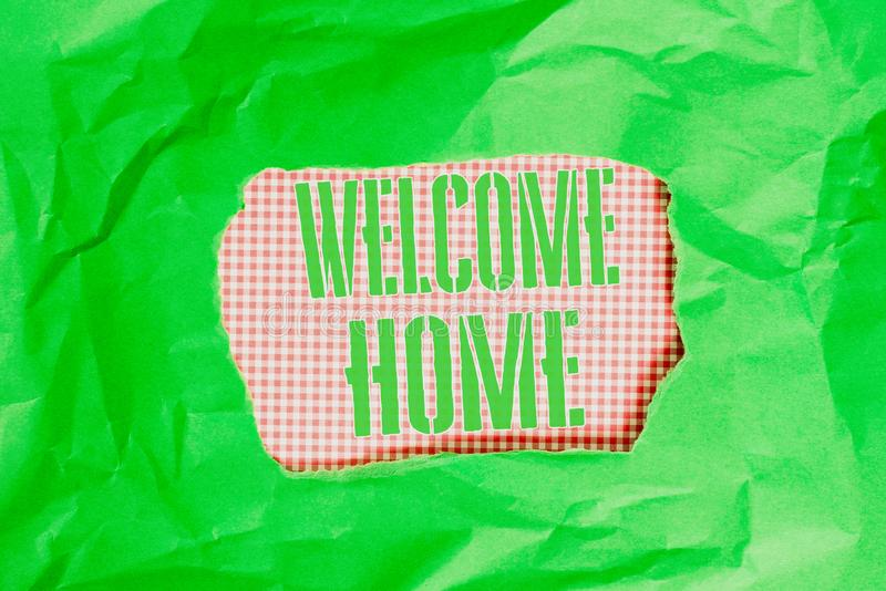 Text sign showing Welcome Home. Conceptual photo Expression Greetings New Owners Domicile Doormat Entry Green crumpled. Text sign showing Welcome Home. Business stock images