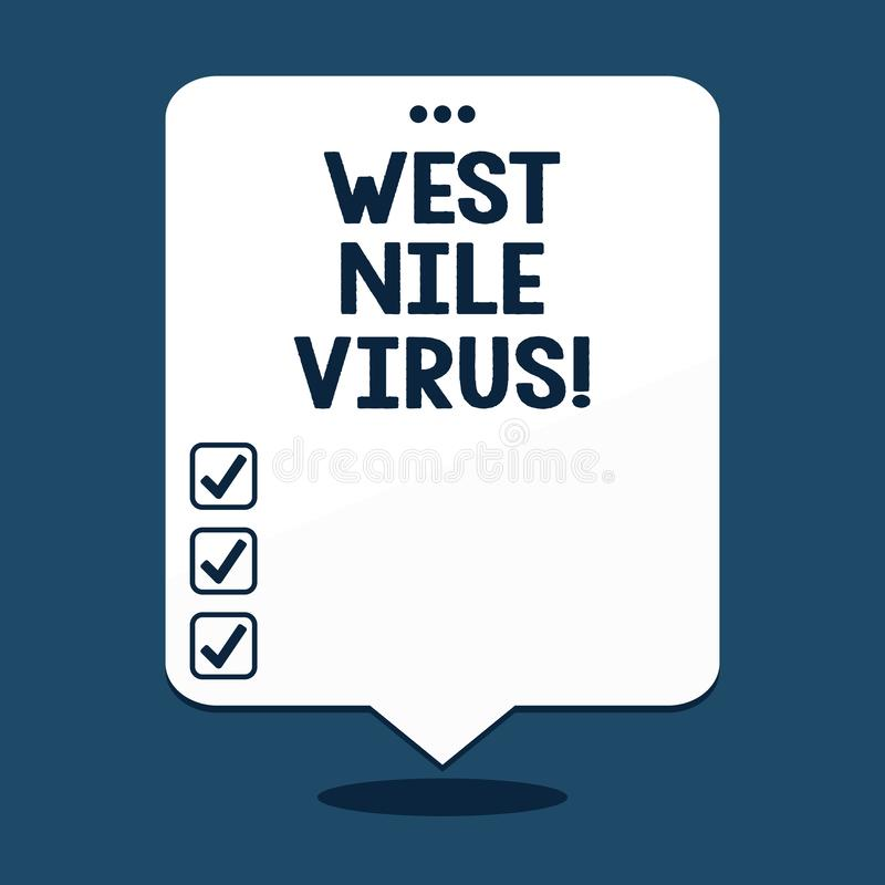 Text sign showing West Nile Virus. Conceptual photo Viral infection cause typically spread by mosquitoes. Text sign showing West Nile Virus. Conceptual photo royalty free illustration