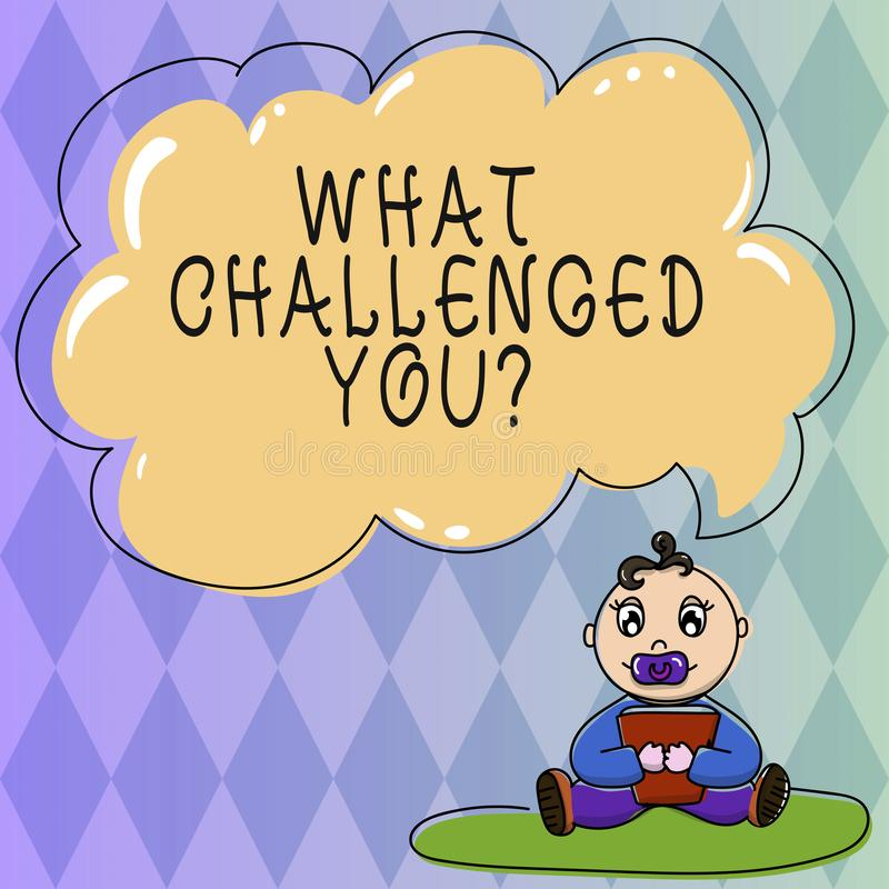 Text sign showing What Challenged You. Conceptual photo call someone to participate in competitive situation Baby. Sitting on Rug with Pacifier Book and Blank vector illustration