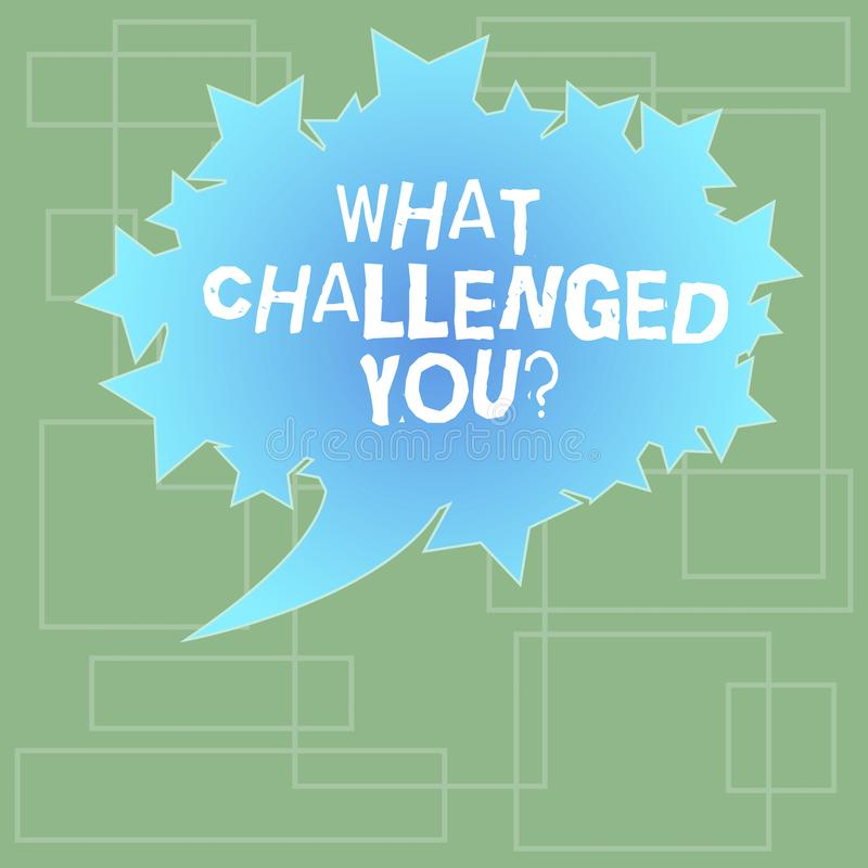 Text sign showing What Challenged You. Conceptual photo call someone to participate in competitive situation Blank Oval. Color Speech Bubble with Stars as stock illustration