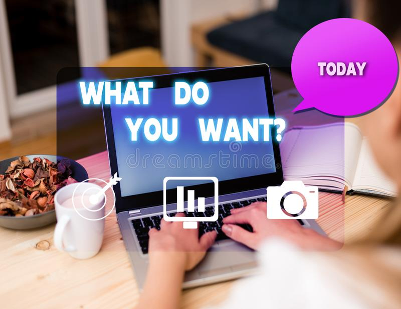 Text sign showing What Do You Want Question. Conceptual photo say or write in order to ask demonstrating about something. Text sign showing What Do You Want royalty free stock photography