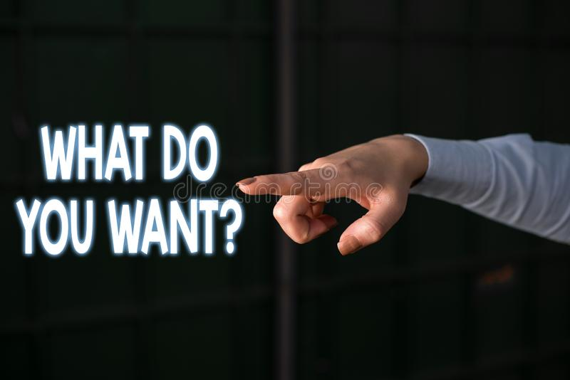 Text sign showing What Do You Want Question. Conceptual photo say or write in order to ask demonstrating about something. Text sign showing What Do You Want stock images