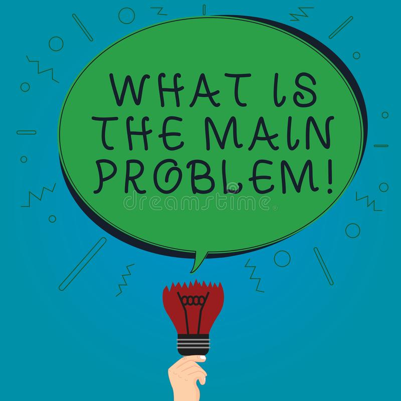 Text sign showing What Is The Main Problem. Conceptual photo Identify the cause of troubles Repair work Blank Oval Color Speech. Bubble Above a Broken Bulb with vector illustration