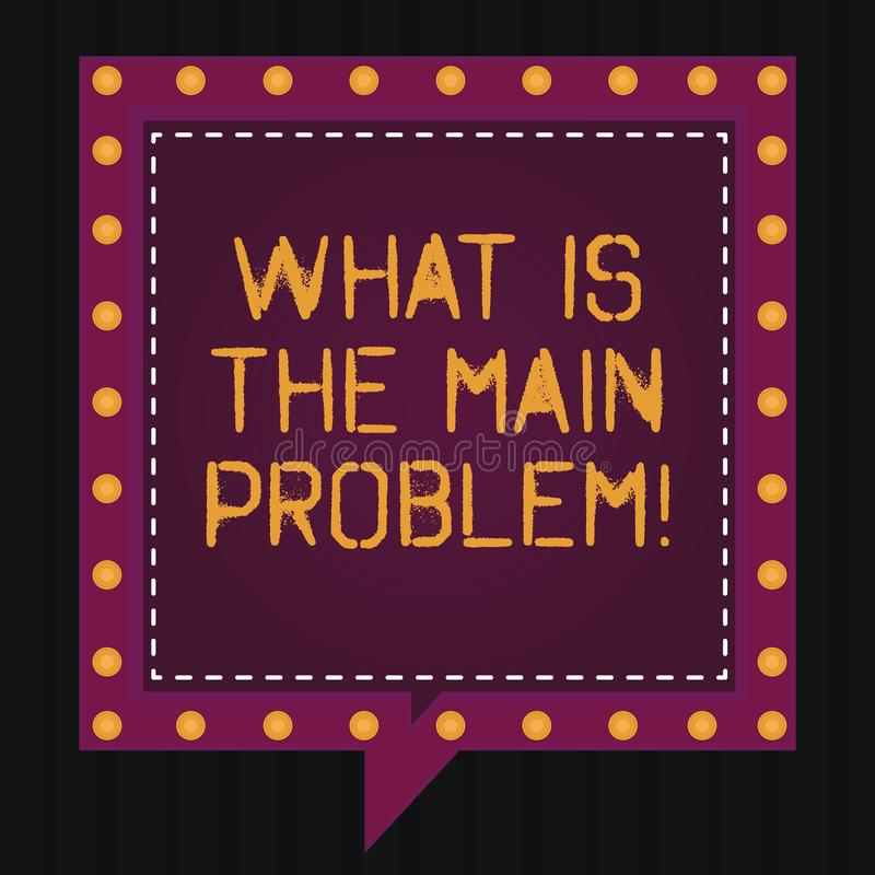 Text sign showing What Is The Main Problem. Conceptual photo Identify the cause of troubles Repair work Square Speech. Bubbles Inside Another with Broken Lines stock illustration