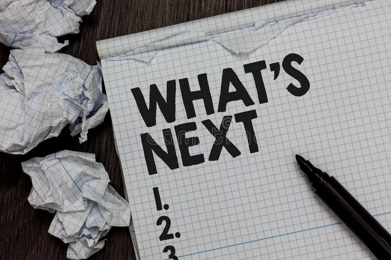 Text sign showing What s is Next. Conceptual photo Asking whatever comes immediately after the present one Marker over notebook cr. Umpled papers ripped pages stock image
