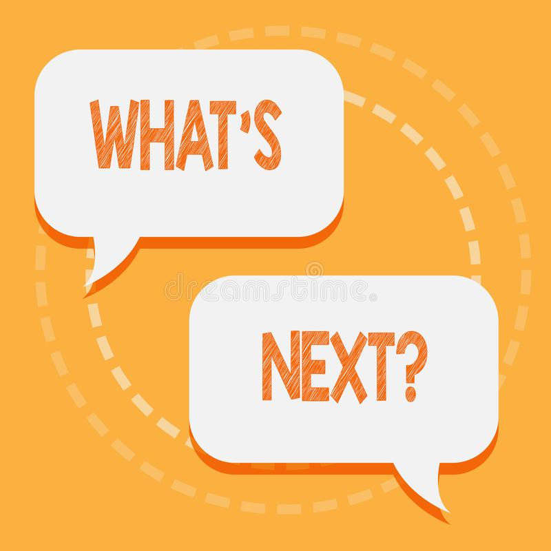 Text sign showing What S Nextquestion. Conceptual photo Following steps Guidance to continue moving or working stock illustration
