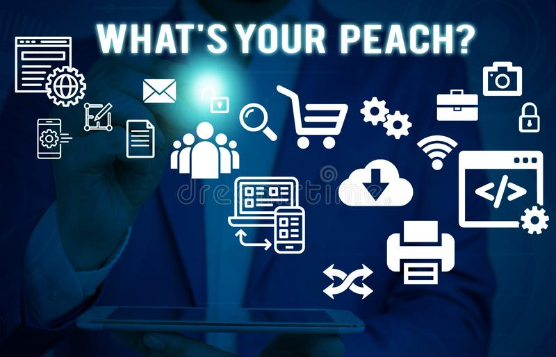 Text sign showing What S Is Your Peach question. Conceptual photo an exceptionally good demonstrating or thing Male. Text sign showing What S Is Your Peach royalty free stock image