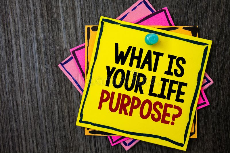 Text sign showing What Is Your Life Purpose Question. Conceptual photo Personal Determination Aims Achieve Goal Wooden background. Ideas messages intentions stock photography
