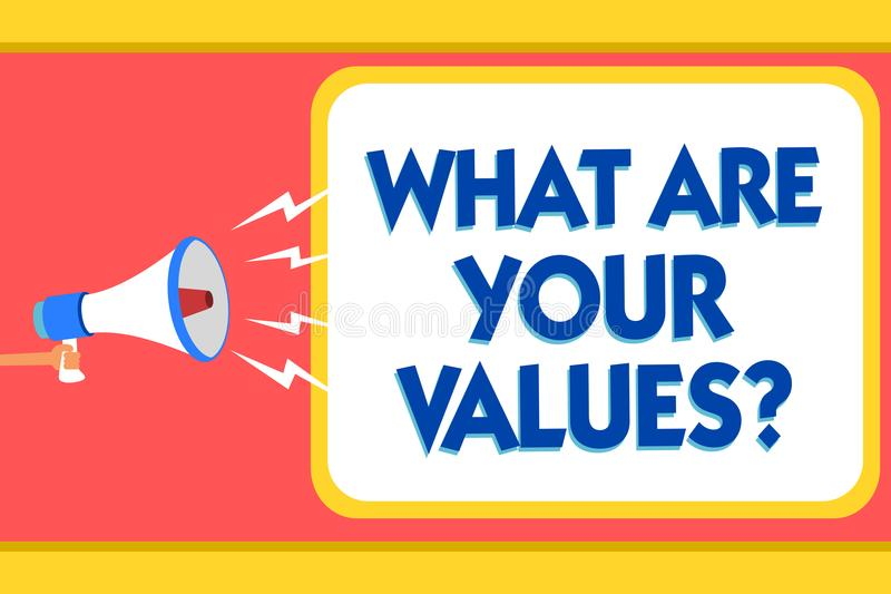 Text sign showing What Are Your Values question. Conceptual photo asking someone about his good qualities Message warning signals. Sound speakers alarming royalty free illustration