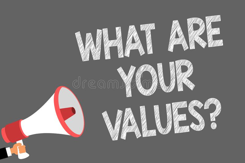 Text sign showing What Are Your Values question. Conceptual photo asking someone about his good qualities Symbols. Speaker alarming warning sound indications stock illustration