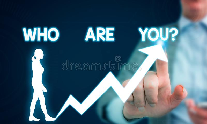 Text sign showing Who Are You question. Conceptual photo asking demonstrating identity or demonstratingal information. Text sign showing Who Are You question royalty free stock images