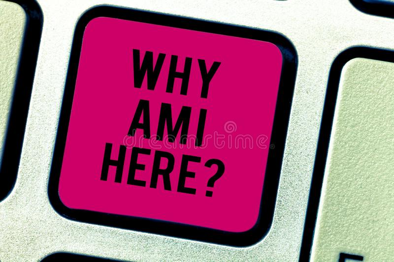 Text sign showing Why Am I Here. Conceptual photo Questions about the purpose and meaning of huanalysis existence royalty free stock photos