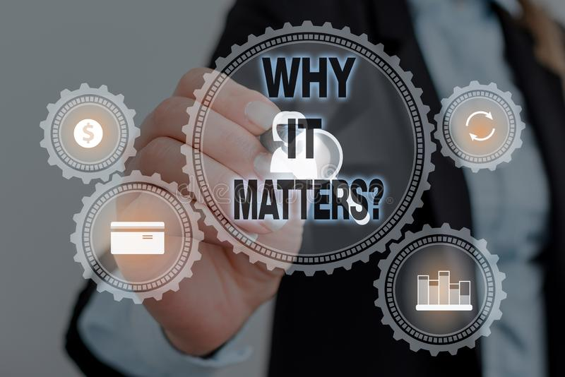 Text sign showing Why It Matters question. Conceptual photo ask demonstrating about something he think is important. Text sign showing Why It Matters question royalty free stock photos