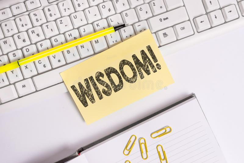 Text sign showing Wisdom. Conceptual photo quality having experience knowledge and good judgement something Empty orange. Text sign showing Wisdom. Business stock image