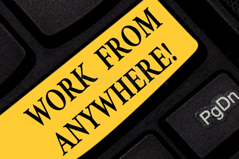 Text sign showing Work From Anywhere. Conceptual photo self employed and hired to work for different companies Keyboard royalty free stock photos