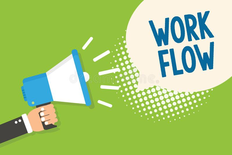 Text sign showing Work Flow. Conceptual photo Continuity of a certain task to and from an office or employer Man holding megaphone. Loudspeaker speech bubble royalty free illustration