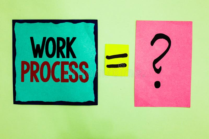Text sign showing Work Process. Conceptual photo Standard procedures how to handle a particular job rules system Black lined writt. En note middle queal pink royalty free stock photos