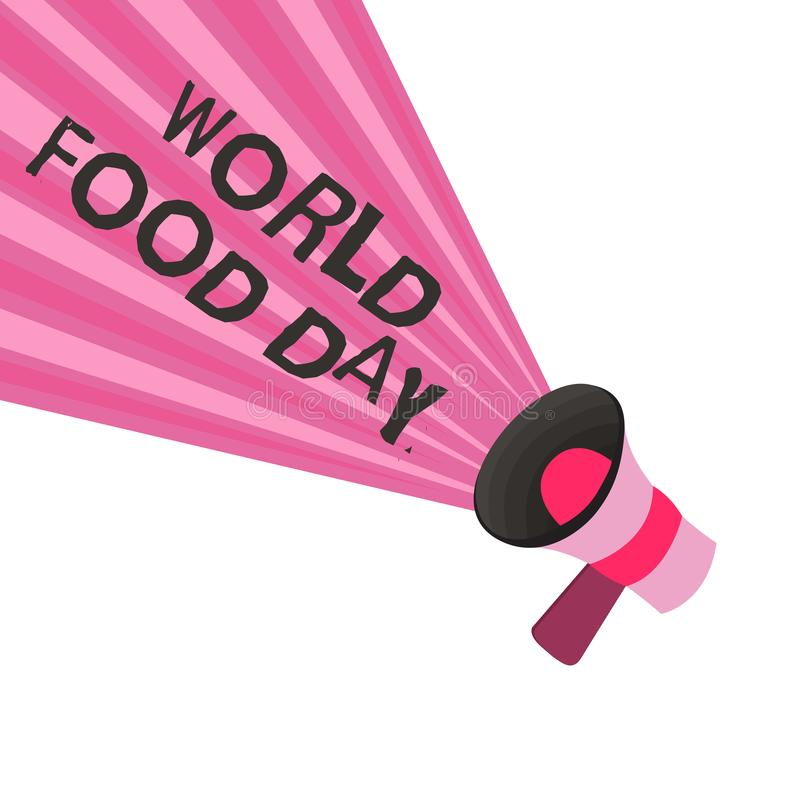 Text sign showing World Food Day. Conceptual photo World day of action dedicated to tackling global hunger.  stock illustration