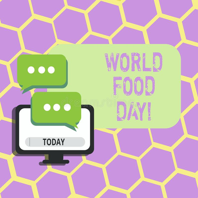 Text sign showing World Food Day. Conceptual photo World day of action dedicated to tackling global hunger. Text sign showing World Food Day. Conceptual photo royalty free illustration