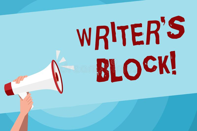 Text sign showing Writer S Is Block. Conceptual photo condition of being unable to make a piece of written work Human. Text sign showing Writer S Is Block royalty free illustration