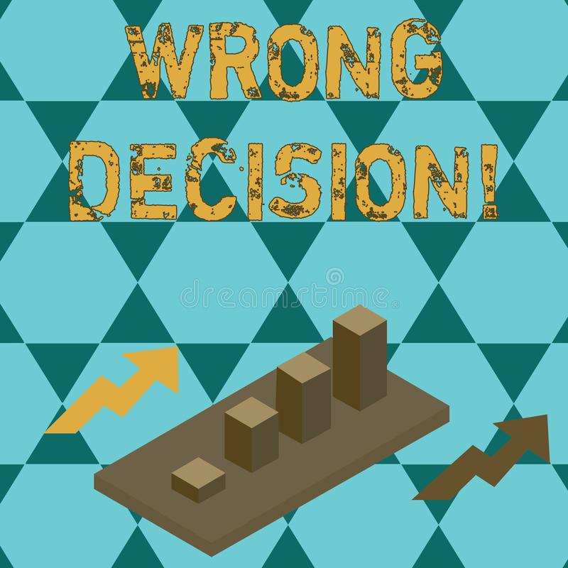 Text sign showing Wrong Decision. Conceptual photo Action or conduct inflicting harm without due provocation Colorful. Text sign showing Wrong Decision. Business stock illustration