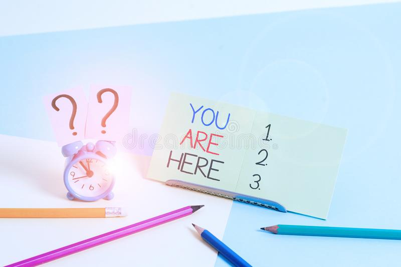 Text sign showing You Are Here. Conceptual photo This is your location reference point global positioning system Mini. Text sign showing You Are Here. Business royalty free stock images