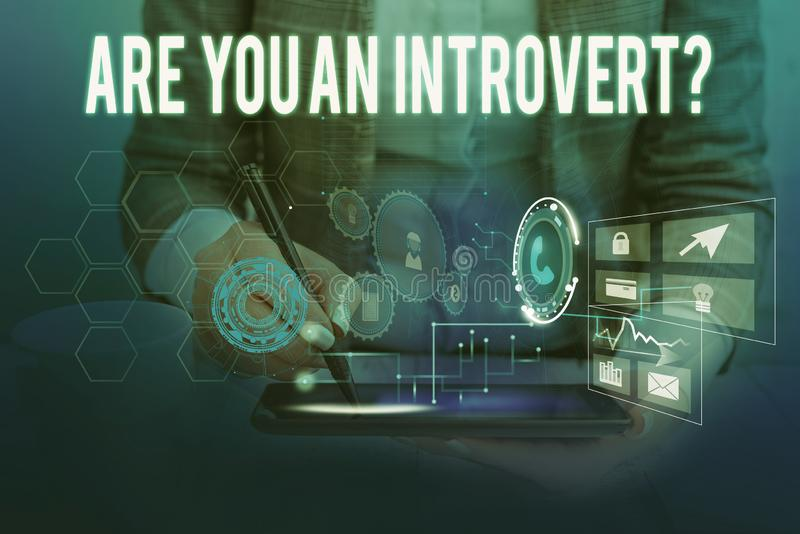 Text sign showing Are You An Introvertquestion. Conceptual photo demonstrating who tends to turn inward mentally Woman. Text sign showing Are You An stock image