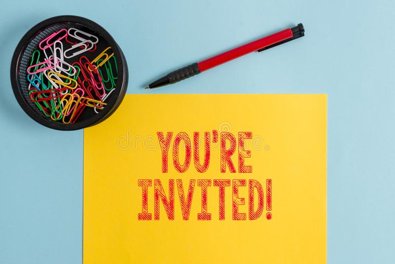 Text sign showing You Re Invited. Conceptual photo make a polite friendly request to someone go somewhere. Text sign showing You Re Invited. Business photo text stock photo