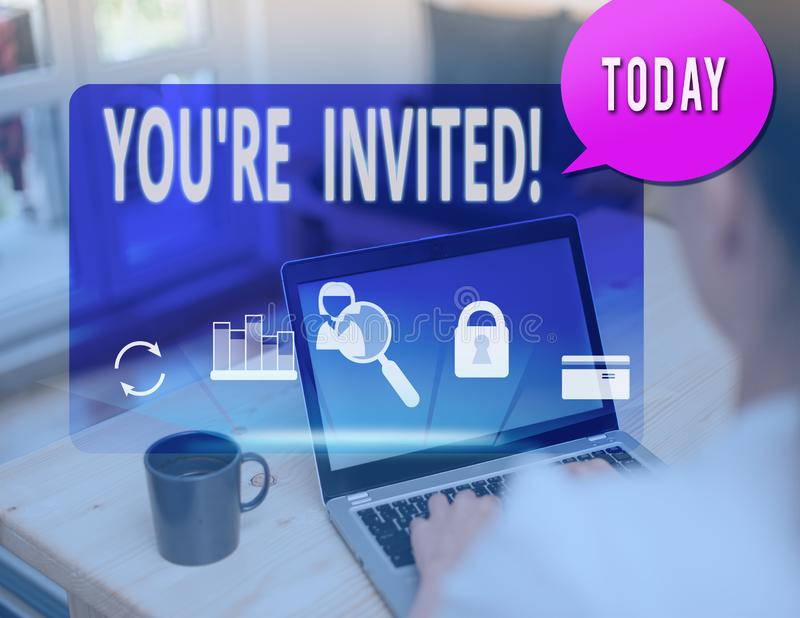 Text sign showing You Re Invited. Conceptual photo make a polite friendly request to someone go somewhere. Text sign showing You Re Invited. Business photo text royalty free stock photography