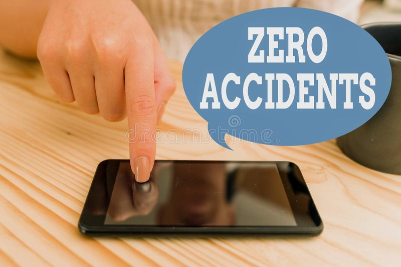 Text sign showing Zero Accidents. Conceptual photo important strategy for preventing workplace accidents woman using. Text sign showing Zero Accidents. Business royalty free stock photos