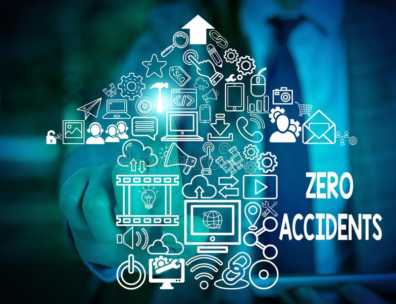 Text sign showing Zero Accidents. Conceptual photo important strategy for preventing workplace accidents Woman wear. Text sign showing Zero Accidents. Business stock images