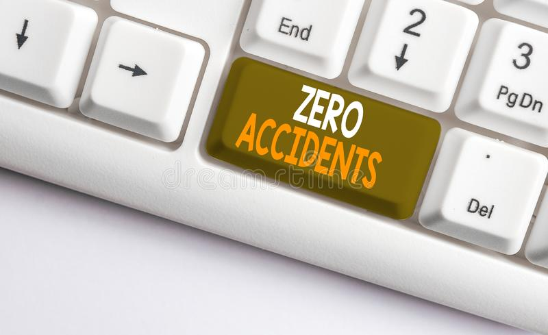 Text sign showing Zero Accidents. Conceptual photo important strategy for preventing workplace accidents White pc. Text sign showing Zero Accidents. Business royalty free stock images