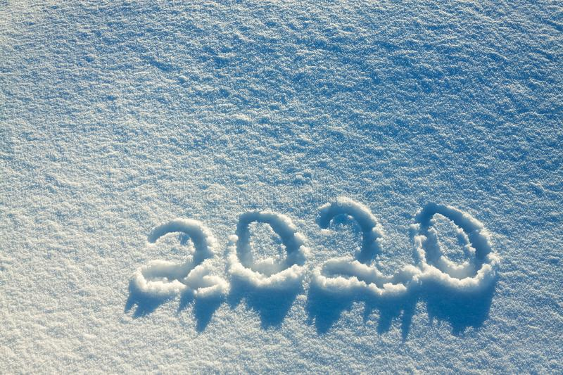 Text on snow 2020 royalty free stock image