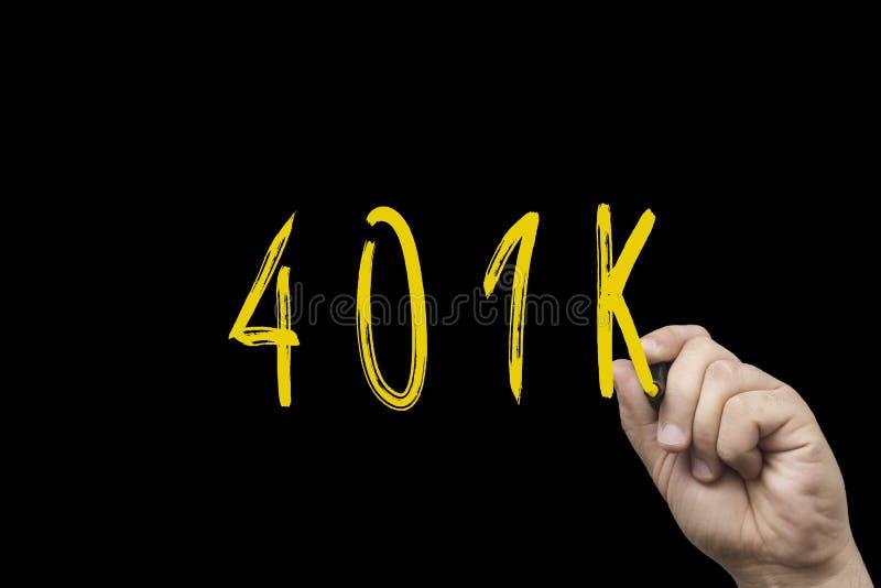 text som 401k är skriftlig med den gula markören arkivbilder
