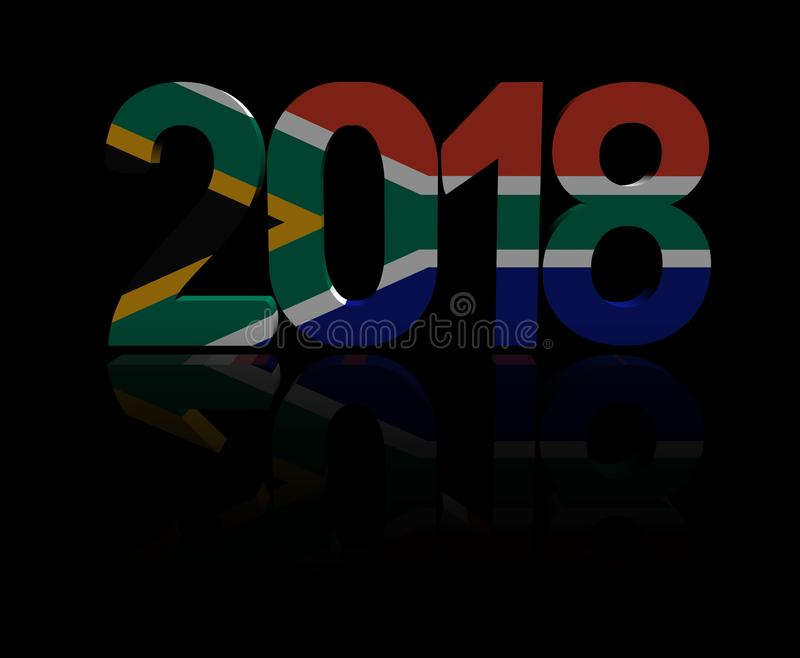 2018 text with South African flag illustration. 2018 text with South African flag 3d illustration royalty free illustration