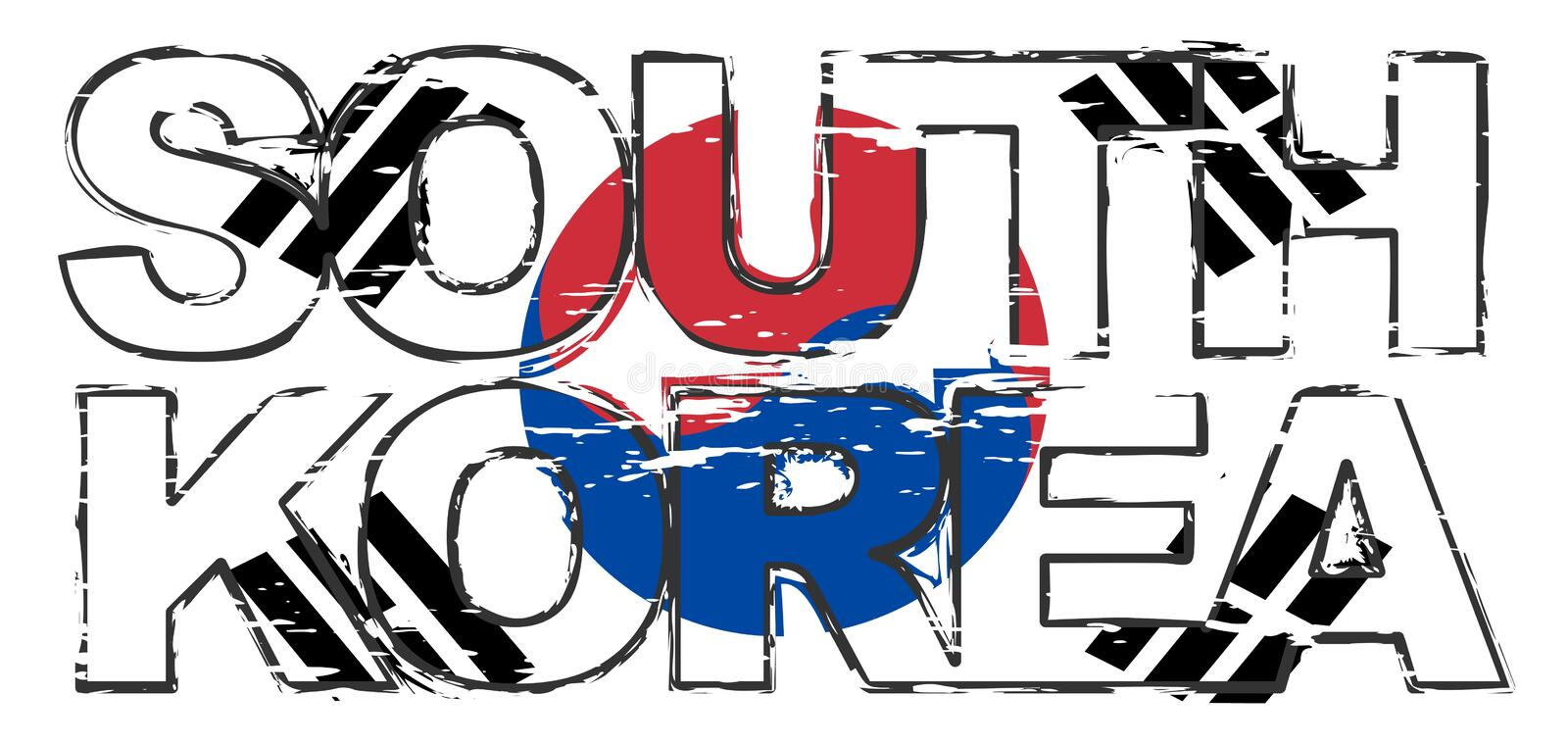 Text SOUTH KOREA with Korean national flag under it, distressed grunge look vector illustration
