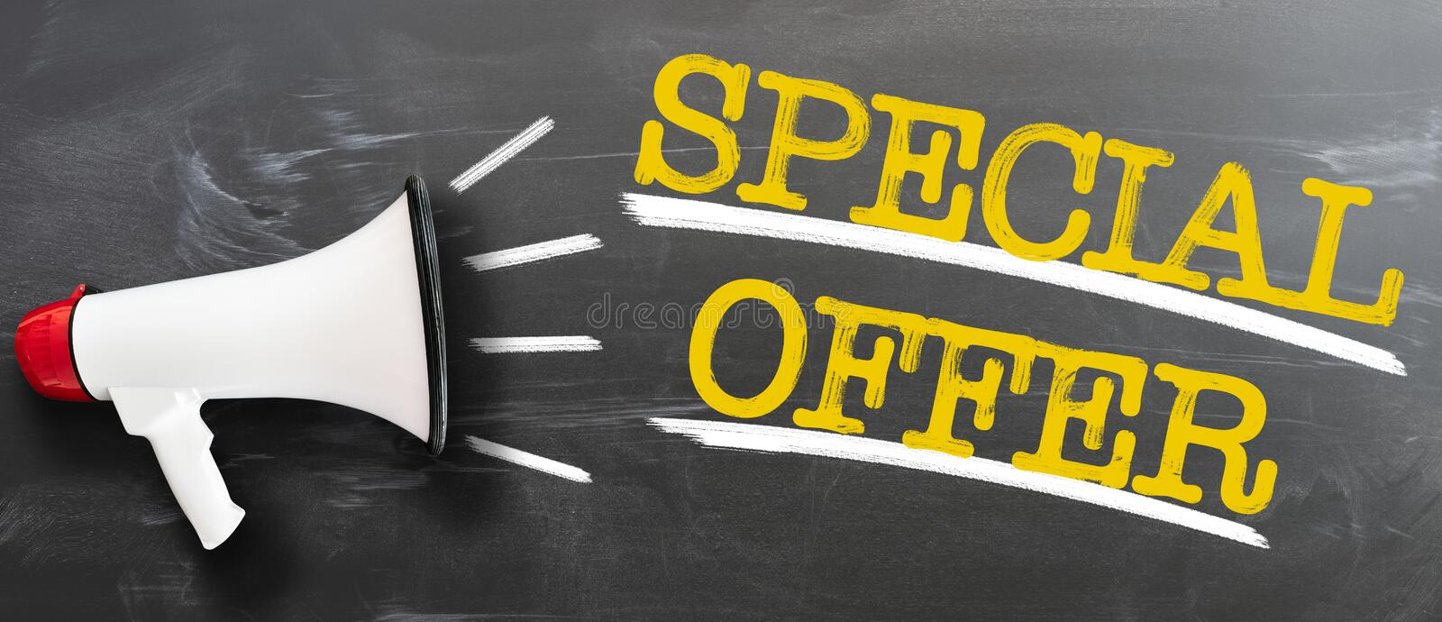 Text SPECIAL OFFER on chalkboard with bullhorn. Text SPECIAL OFFER on blackboard with megaphone business concept stock photos