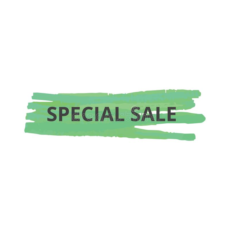 Text special sale on green stroke of a marker or highlighter for advertising and banner. vector illustration
