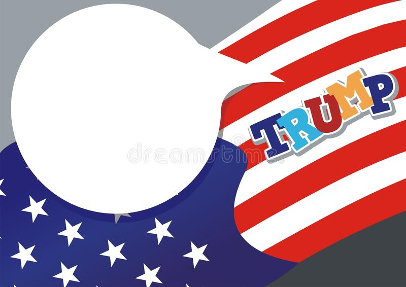 Text speech with color of American Flag background stock illustration